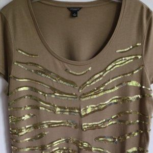 Ann Taylor Golden Tiger Sequin T Shirt